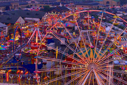 New York State carnival midway night
