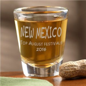 2016 New Mexico August shot glass prize for best festival