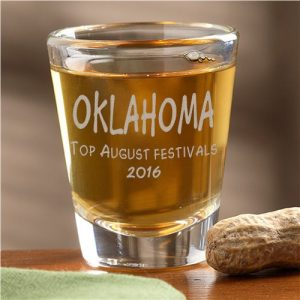 Oklahoma August events winner prize shot glass